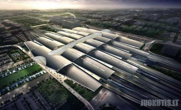 Nauja šiuolaikiška geležinkelio stotis Kinijoje
