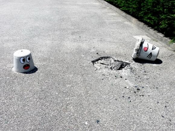 Juokingi piešiniai ant sienų ir asfalto