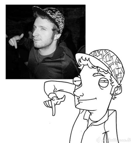 Dailininkas karikatūristas piešia savo draugus