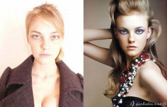 Modeliai be makiažo ir fotošopo