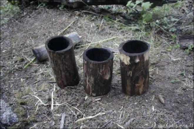 Savadarbiai puodeliai miške
