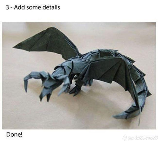 Kaip iš popieriaus išlankstyti kietą origami drakoną