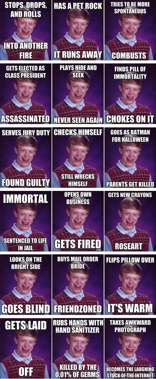 Geriausių Bad Luck Brian memų rinkinukas