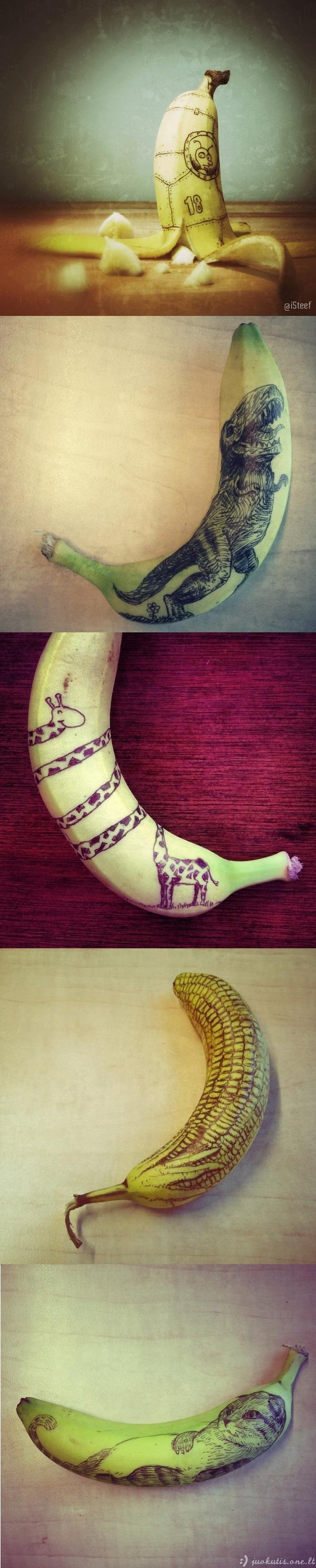 Piešiniai ant... bananų