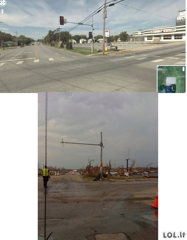 Prieš ir po tornado
