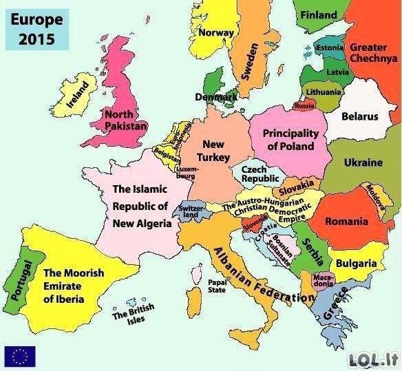 2015-ųjų Europos žemėlapis