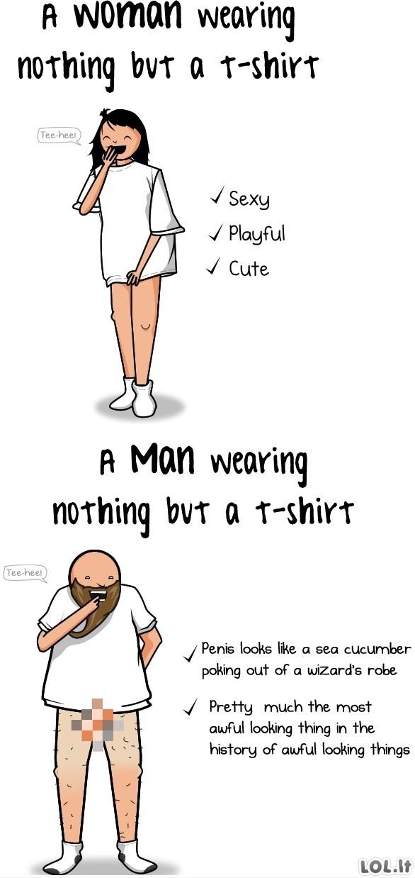 Moterys su marškinėliais vs Vyrai su marškinėliais