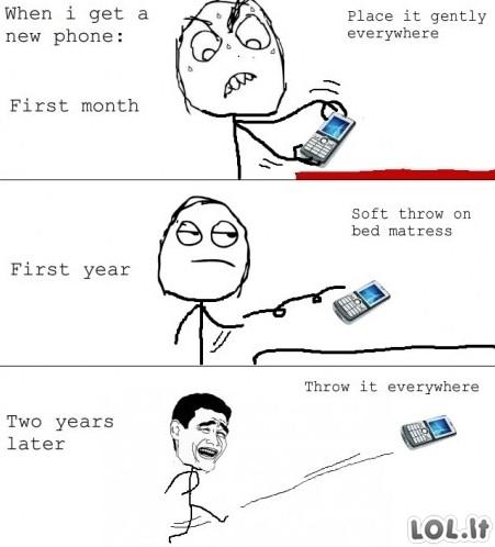 Senas mobilus VS Naujas mobilus