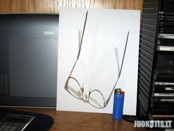 3D piešiniai ant popieriaus lapo