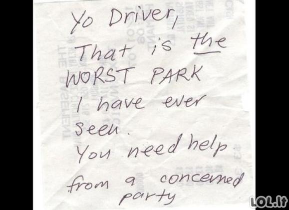 Žinutės parkuotojams