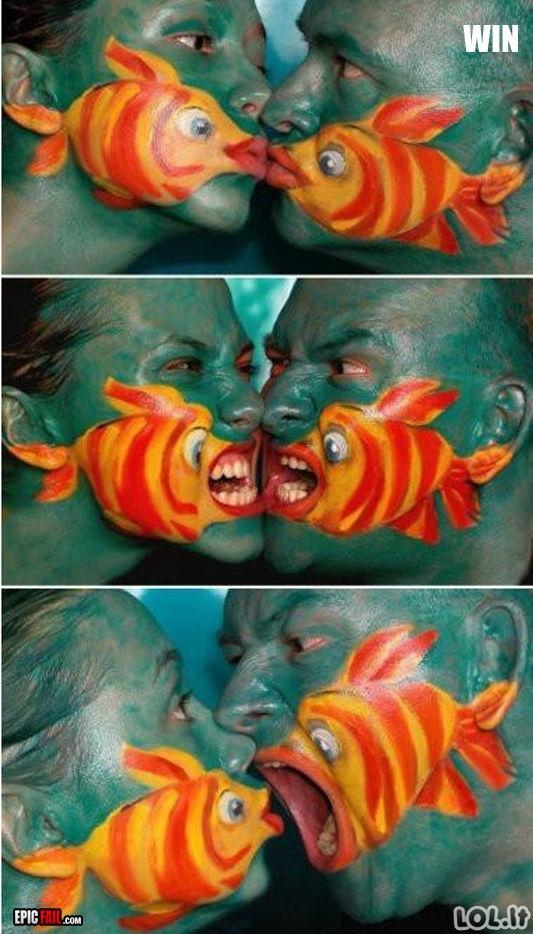 Žuvys ant veido