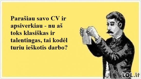 Mano problema rašant CV