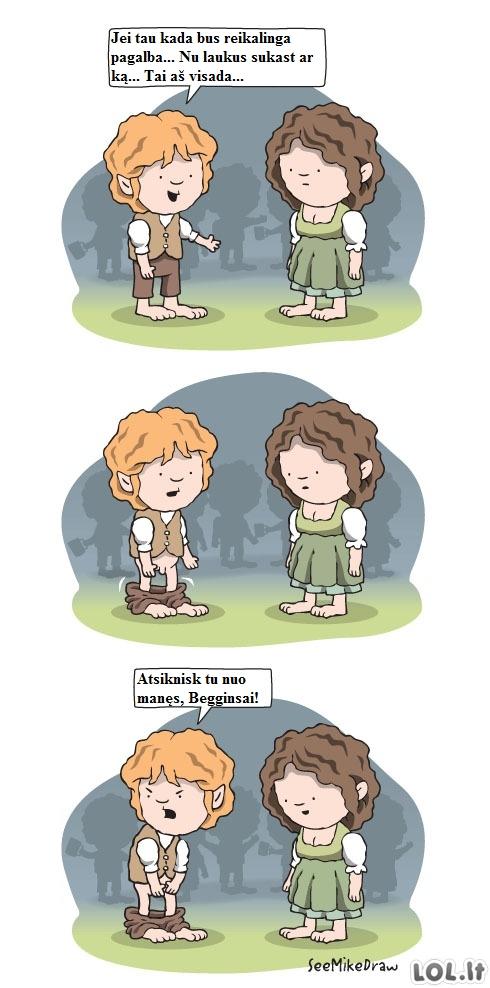 Kaip pokštauja hobitai