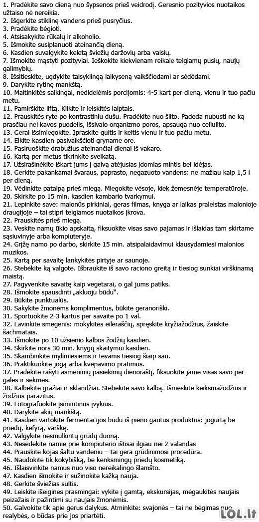 50 dalykų kuriuos būtina daryti
