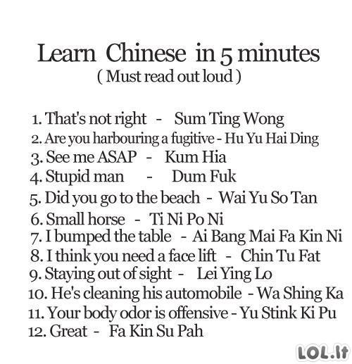 Kinų kalbos pamokėlė