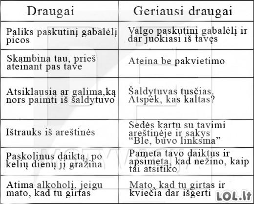 Kuo skiriasi DRAUGAI ir GERIAUSI DRAUGAI?