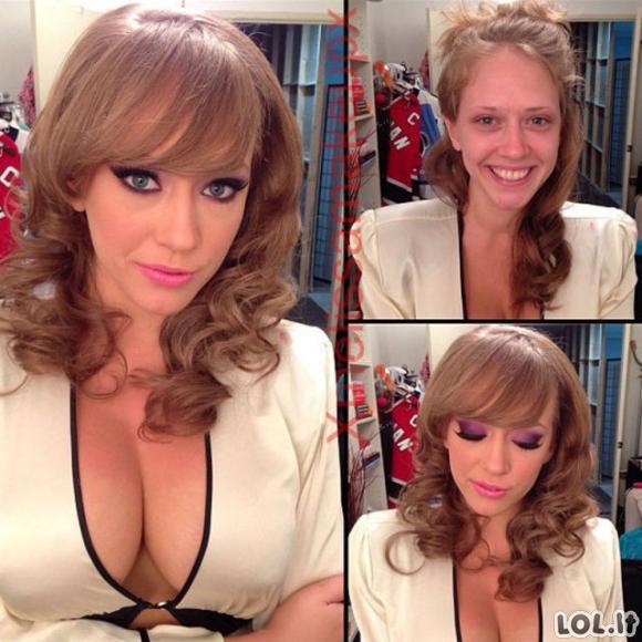 Porno žvaigždės prieš ir po maikiažo