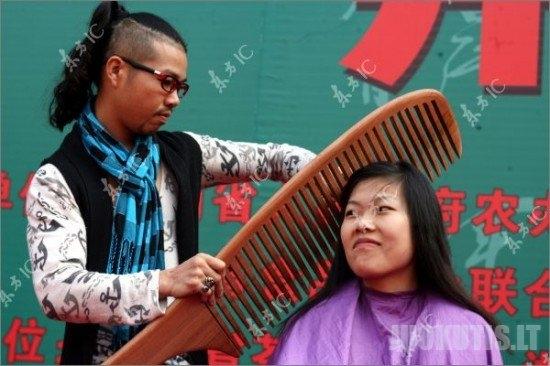 Kinijoje atliktas gana sudėtingas ir įspūdingas kirpimas (7 nuotraukos)