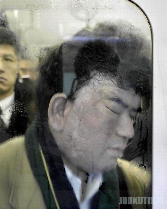 Tokijo metro piko valandos metu (10 nuotraukų)