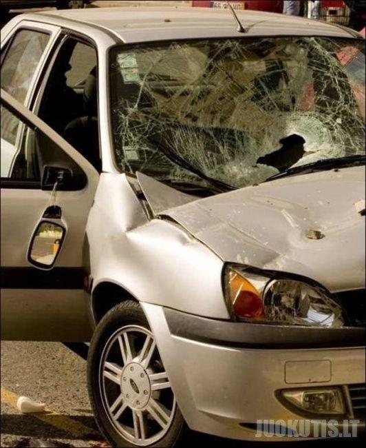 Namo plokštės sulamdytas automobilis (5 foto)