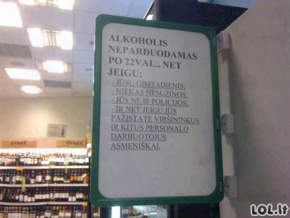 Alkoholio skyriaus linksmybės