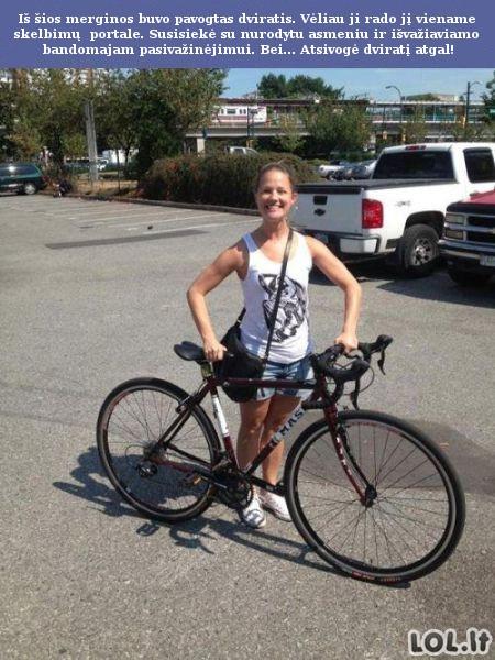 Mergina pagaidina dviračio vagis
