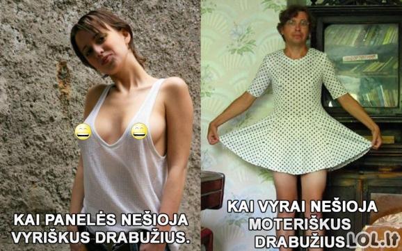 Vyriškų ir moteriškų rūbų skirtumas