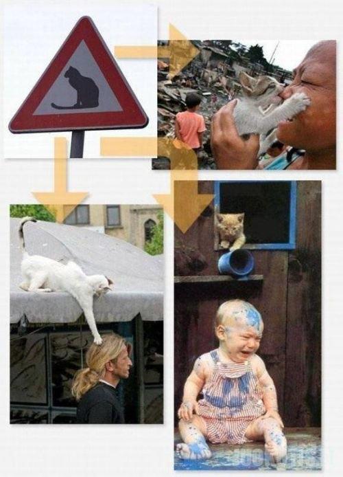 Neįprasti kelio ženklai su iššifravimu