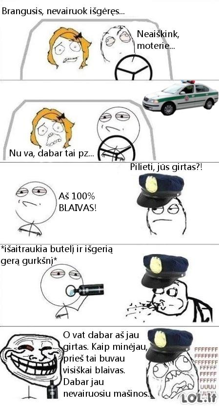 Kaip girtam išsisukti nuo policijos?