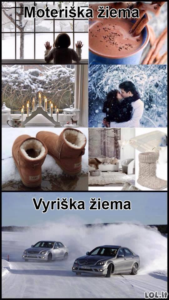 Moteriški ir vyriški žiemos smagumai