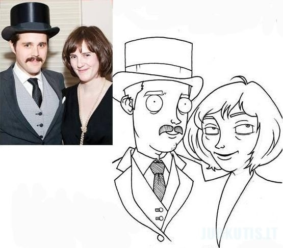 Iš nuotraukų nupieštos karikatūros
