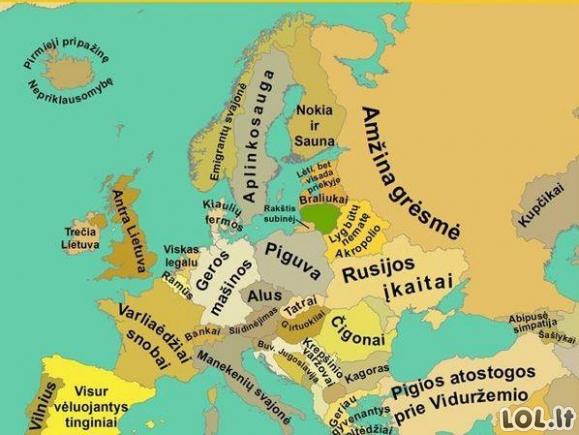 Europos žemėlapis lietuvių akimis