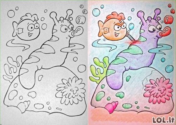 Kai spalvinimo knygutes spalvina suaugę