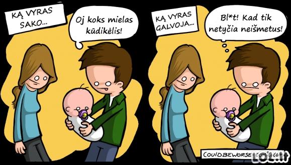 Kai vyrui duodi palaikyti kūdikį...