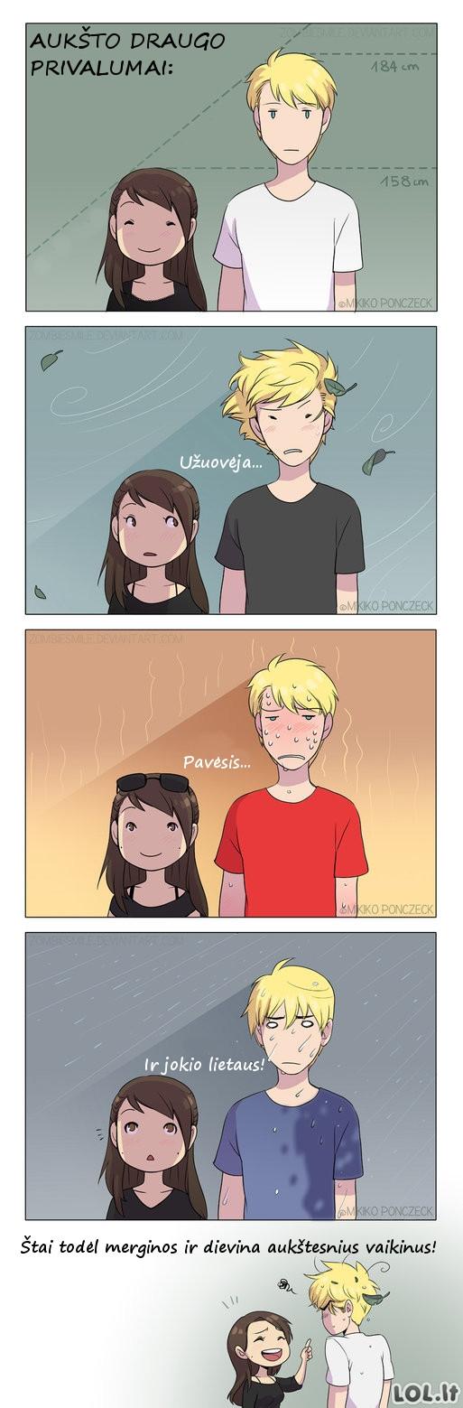 Kodėl merginos ieško aukštesnių vaikinų?