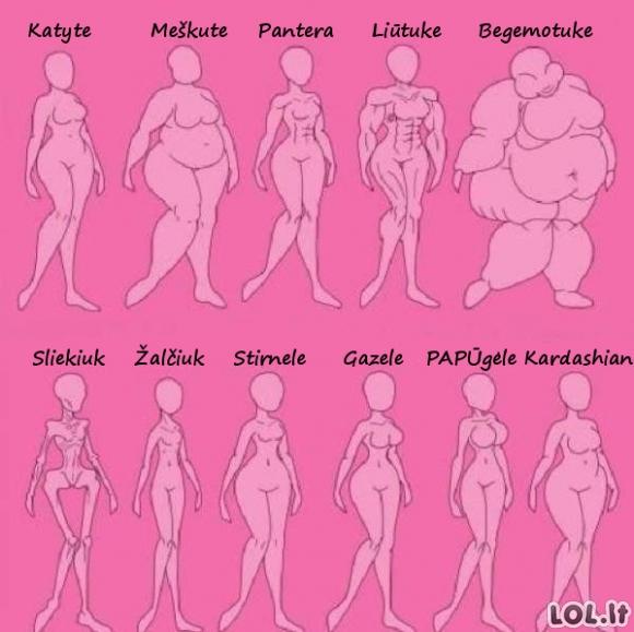 Kaip vadinti moterį pagal jos kūno formas?