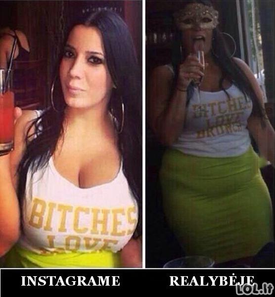 Merginos Instagrame ir realybėje