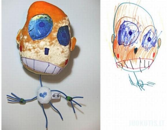 Žaislai pagal vaikiškus piešinius