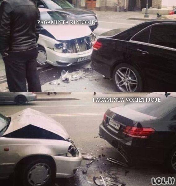 Kiniškas automobilis prieš vokišką
