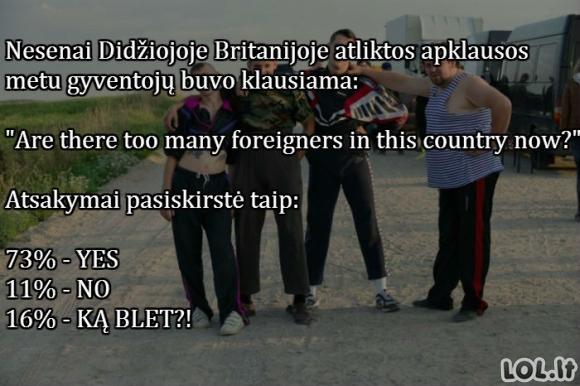 Didžiosios Britanijos apklausa su lietuvišku akcentu