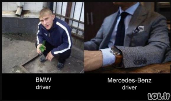 BMW vs MB vairuotojai