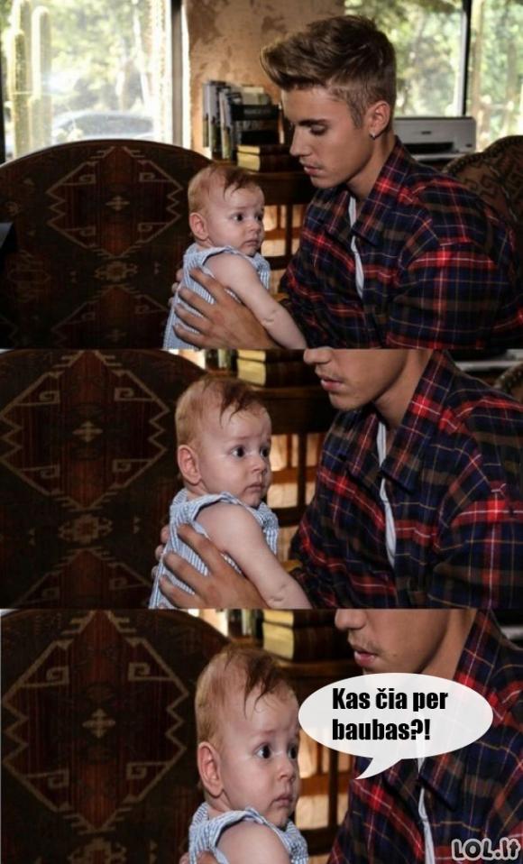Jei Bieberiui duotų palaikyt vaiką