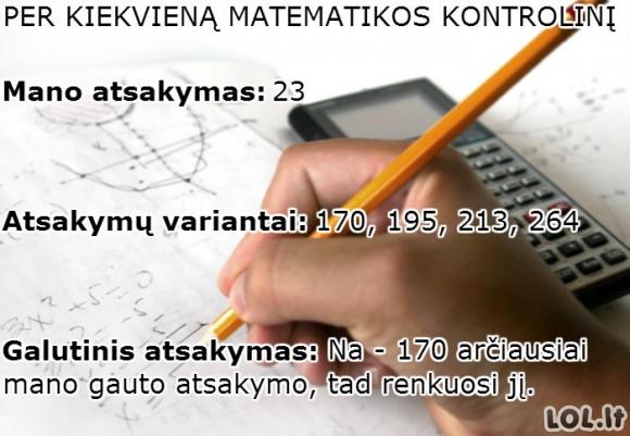 Kaip baigiasi kiekvienas matematikos kontrolinis?