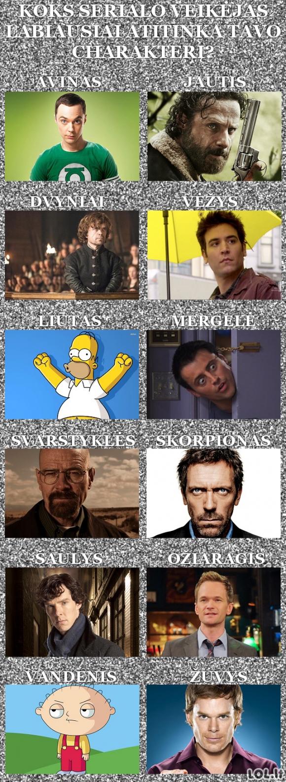 Koks serialo veikėjas labiausiai atitinka tavo charakterį?