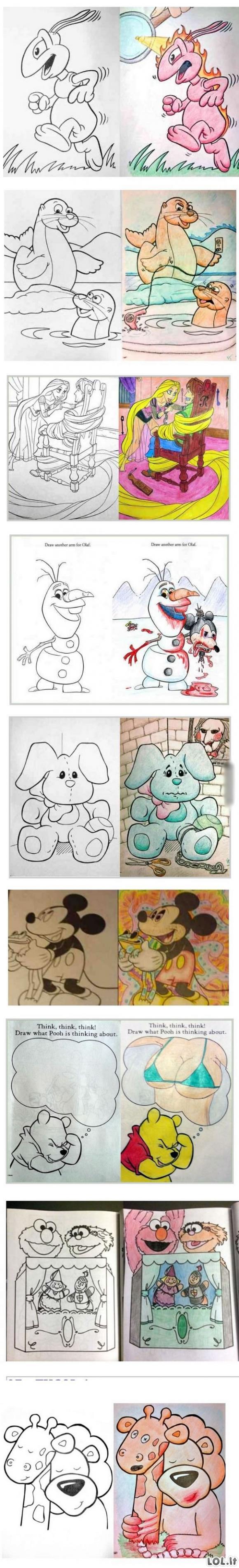 Kai vaikišką spalvinimo knygelę paima suaugęs