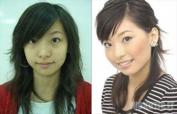 Azijietės prieš ir po makiažo