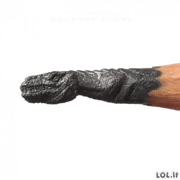 Miniatiūrinės skulptūros ant pieštuko galiuko
