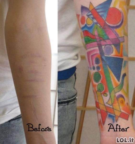 Tatuiruotės, padėjusios paslėpti bjaurius randus