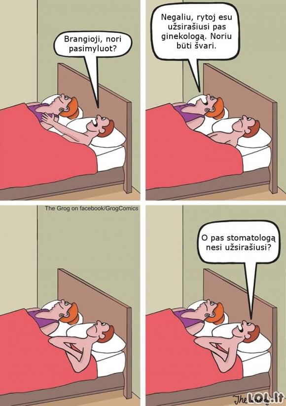 Žmona, kuri laužosi lovoje ir gudrus vyras