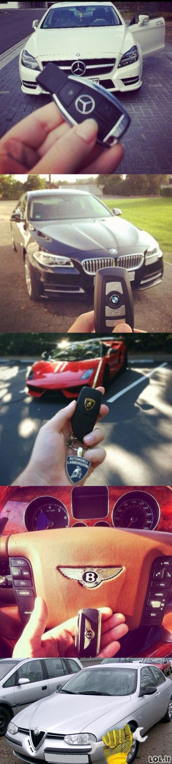 Skirtingų automobilių rakteliai